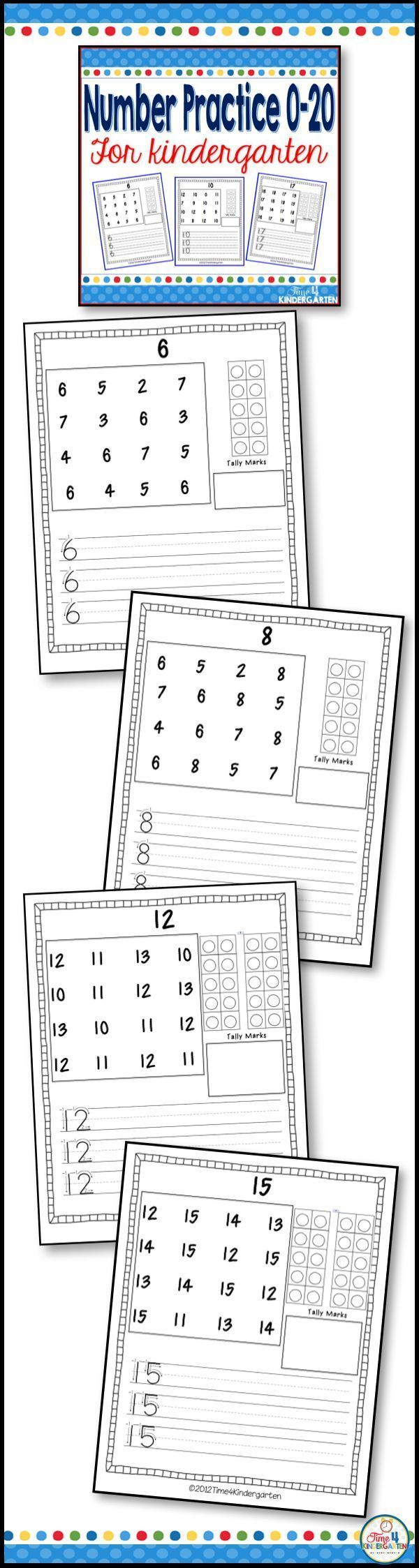 Number practice for kindergarten. Focus on number writing 0-20 ...