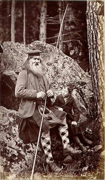 """William Duff – Ghillie, Gardener, Fiddler, Fly Fisherman, Violin Maker and Atholl Mann.  Born 1810 – Died 1892 Dunkeld, Pethshire, Scotland UK.  Will Duff was a notable ghillie, gardner and estate worker at the  Blair Atholl Estate and amateur maker of violins, known locally as """"Bearded Willie""""."""