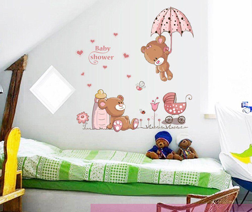 Ufengke osos lindos del beb y flores paraguas pegatinas for Pegatinas habitacion nina