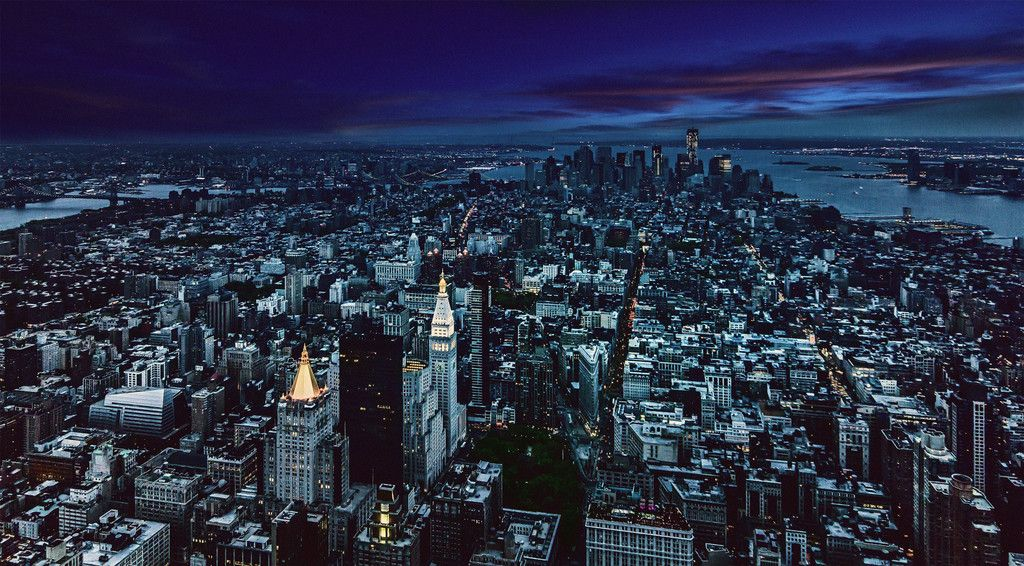 New York City Night Aerial View Wallpaper