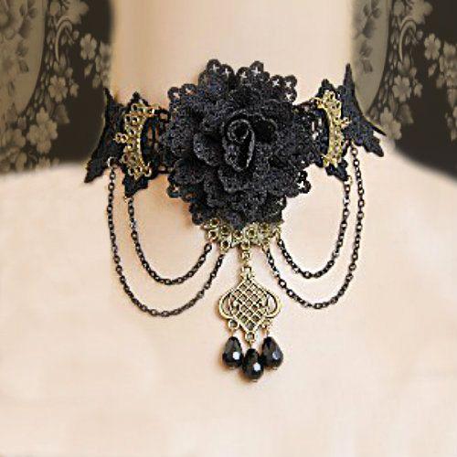 Flower Lace choker  steampunk choker by bellydanceon on Etsy