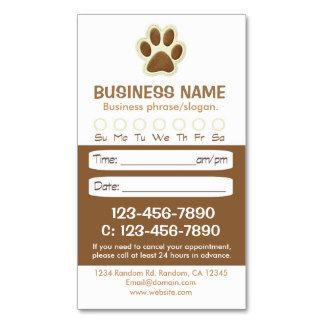 Brown pet grooming appointment cards groomers online printing shop paw print veterinarian appointment cards created by professionaloffice colourmoves