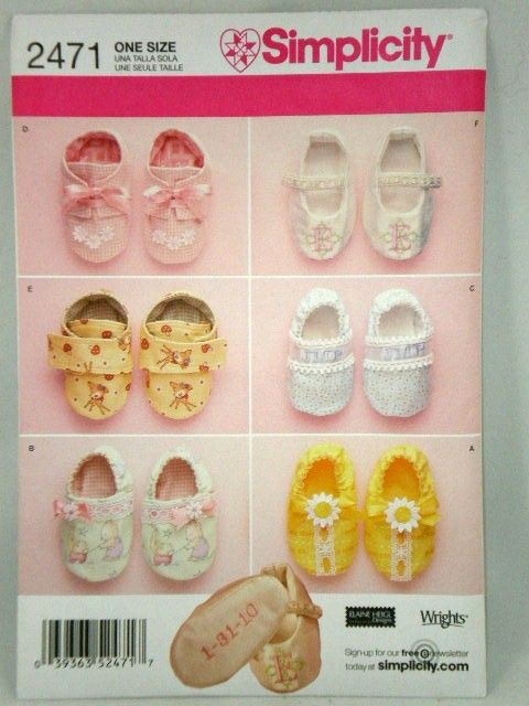 Baby Booties Shoes Pattern Simplicity 2471 Machine Embroidery ...