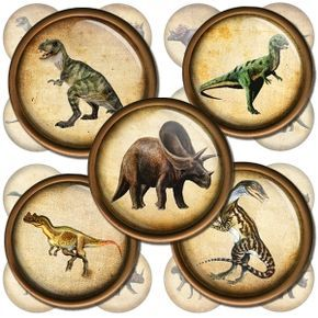 Dinosaurs Circle Images Digital Collage Sheet for Jewelry Making, Bottle Caps, Cake Toppers. Instant Download.