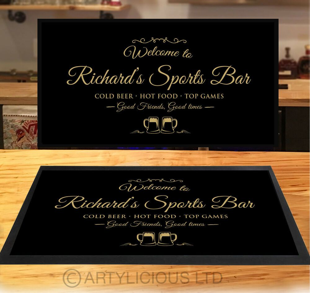 Personalised Cheers Your Logo Here Bar Mat Ideal For Pub Club Bar