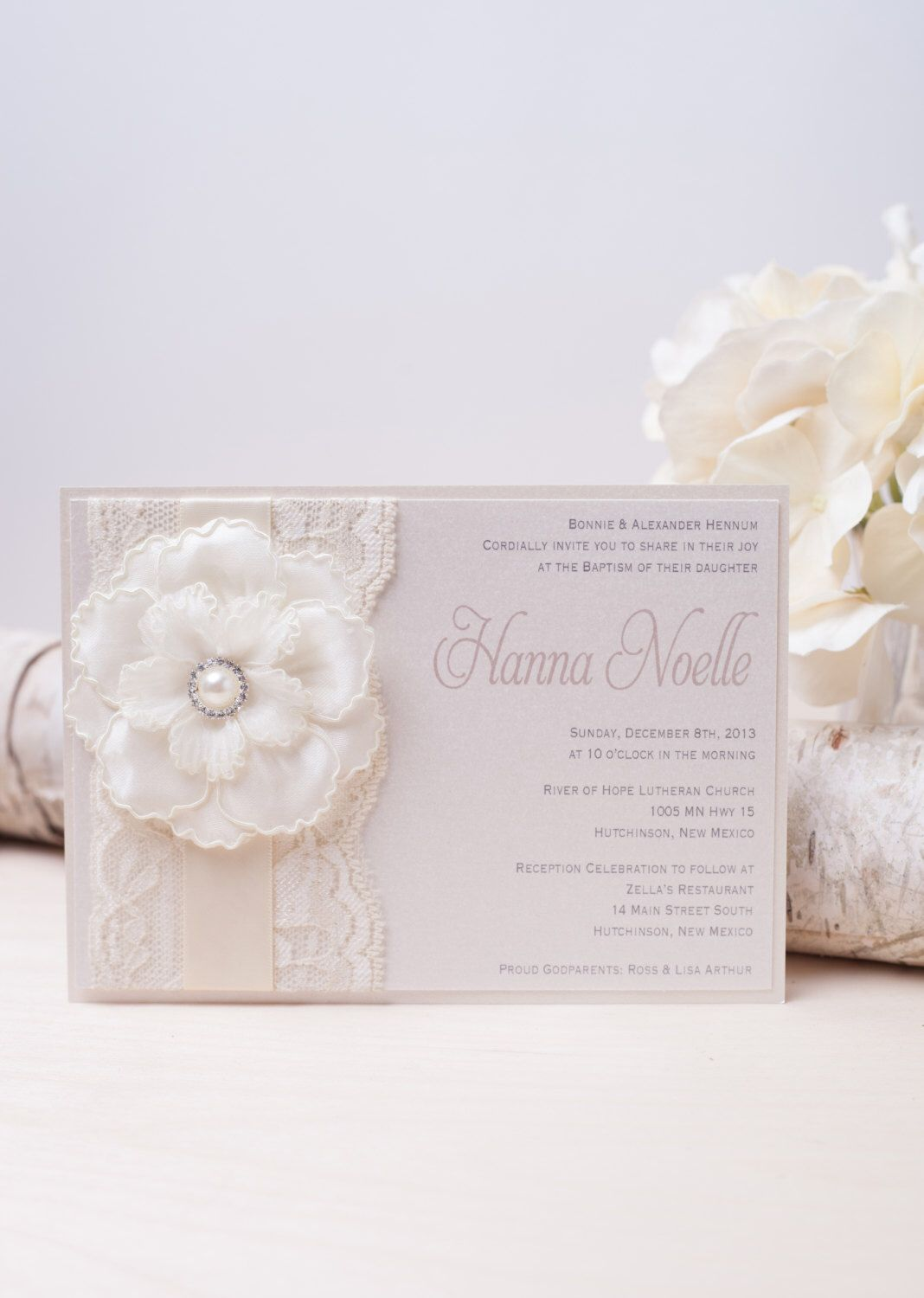 HANNA: Ivory Pearl Lace Baptism Invitation ~ Unique Flower ...