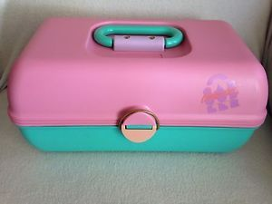 Caboodles Large Makeup Train Case Mirror 80s 90s Pink Blue Green