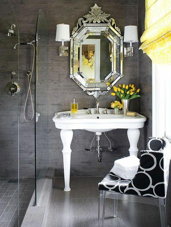 kleines badezimmer graue wandgestaltung Badezimmer Ideen - wandgestaltung im badezimmer