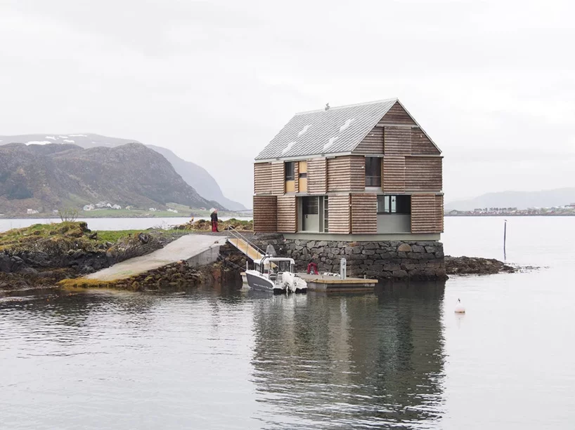 Knut Hjeltnes Builds Timber Weekend House On A Norwegian Islet Of Its Own Weekend House Norwegian House Lakefront Living