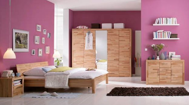 SIMONA Kleiderschrank\/Drehtürenschrank Kernbuche Schlafzimmer - schlafzimmerschrank weiß hochglanz