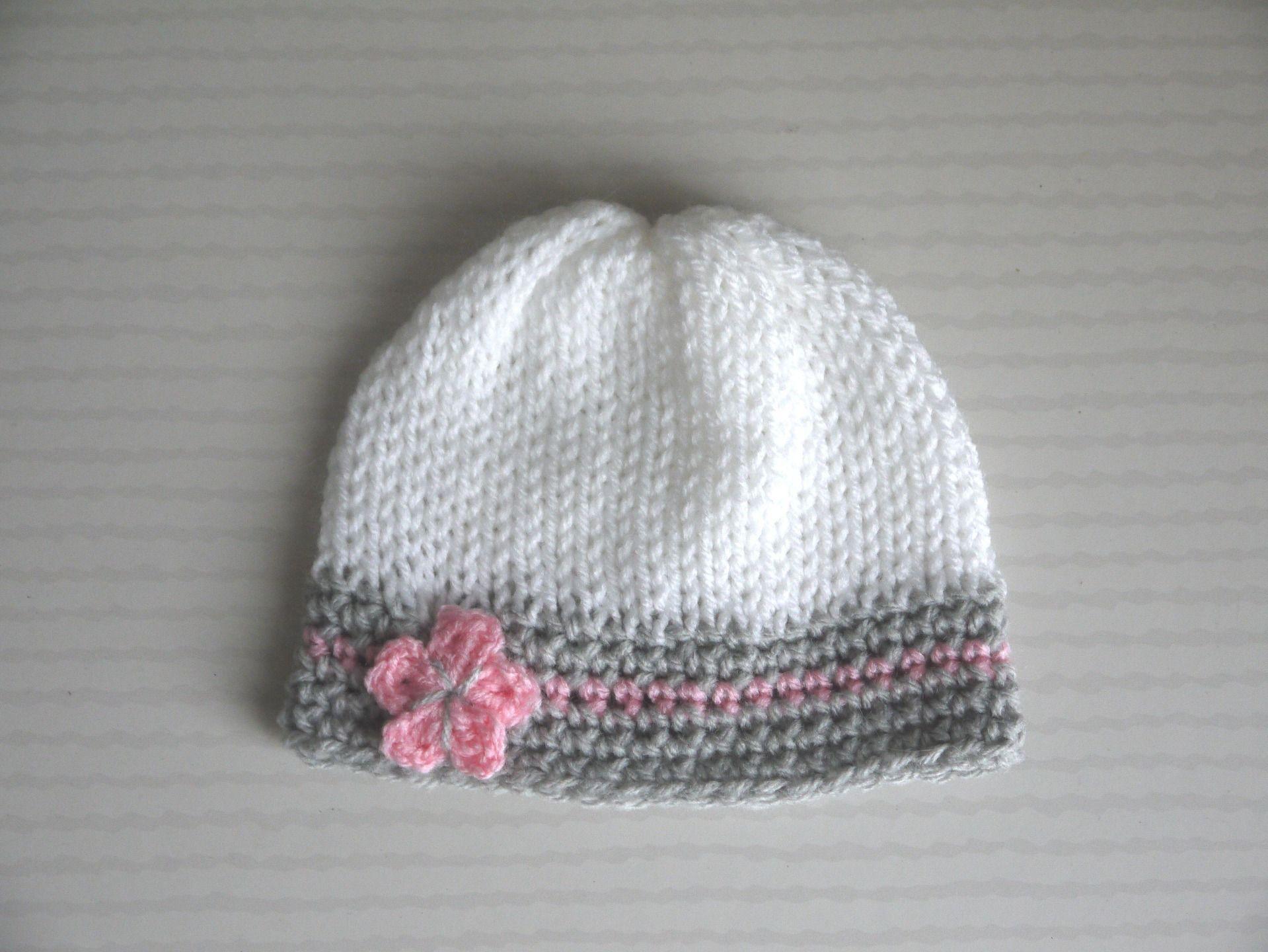 db1b4f43f01 Bonnet Naissance bébé 0 3 mois Fille Blanc Gris clair Rose fleur Mode Bébé  ...