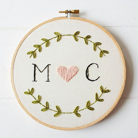 Custom Monogram Embroidery Hoop Art, Hand Embroidered Initials, Unique  Wedding Gift, Gifts For