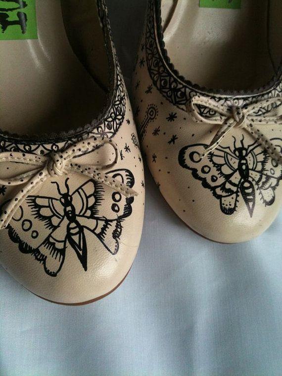 Inked Vintage Tattoo Heels Shoes Uk 6 USA 8 by MissFiendishApparel, £25.00