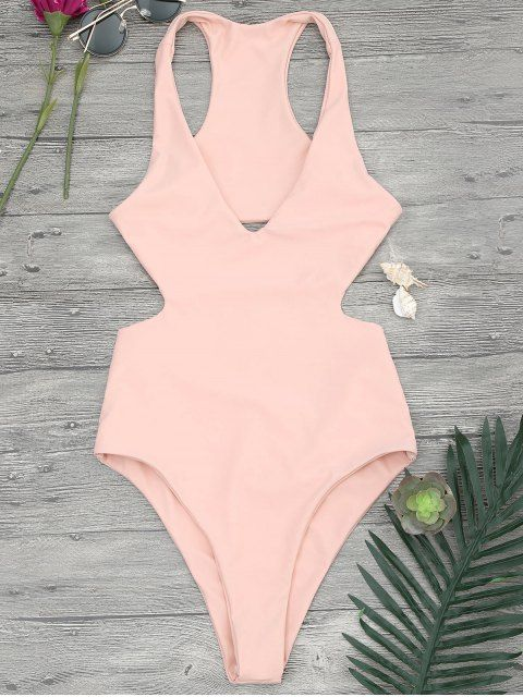 d4902c83a9 V Neck Cut Out One Piece Swimsuit - ORANGEPINK S