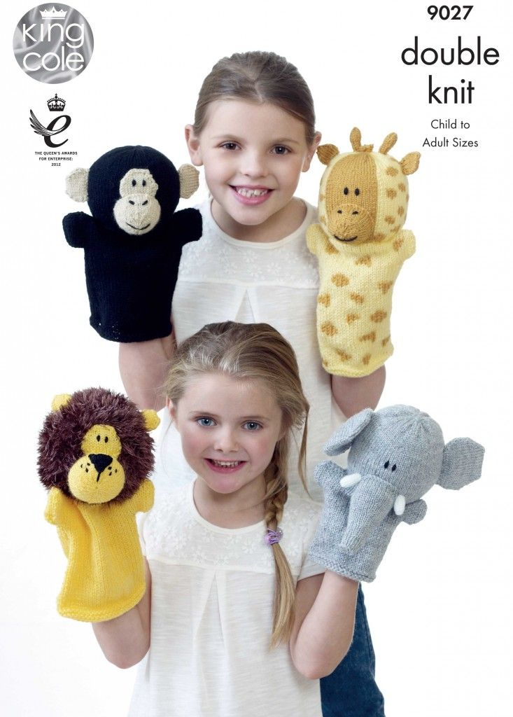 Animal Hand Puppets Knitted with Moments DK & Pricewise DK - King Cole #handpuppets
