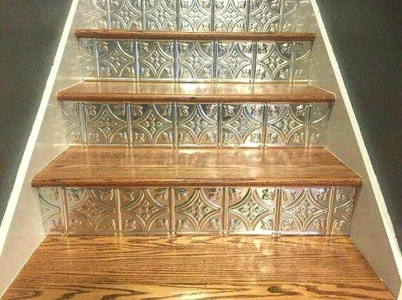 Faux Ceiling Tiles Tin Cut And Used As Stair Risers On
