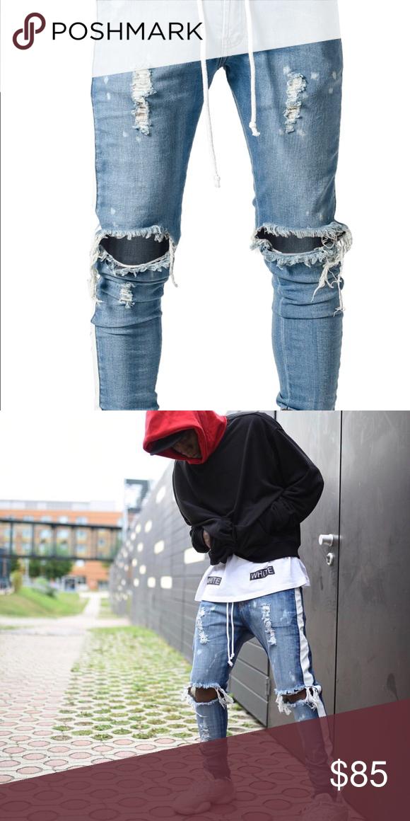 New Men/'s Boston Slim Fit Jeans Tapered Narrow Leg Tight Denim Stonewash Blue