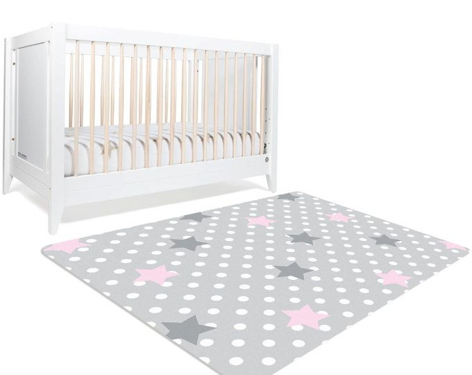 Moon And Stars Nursery Star Rug Polka Dot Pink Grey Bedding Rugs For Kids
