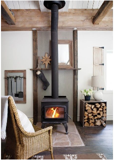 how to decorate a living room with wood burning stove tv placement in small fireplace beams scandinavian swedish style simple christmas decorations
