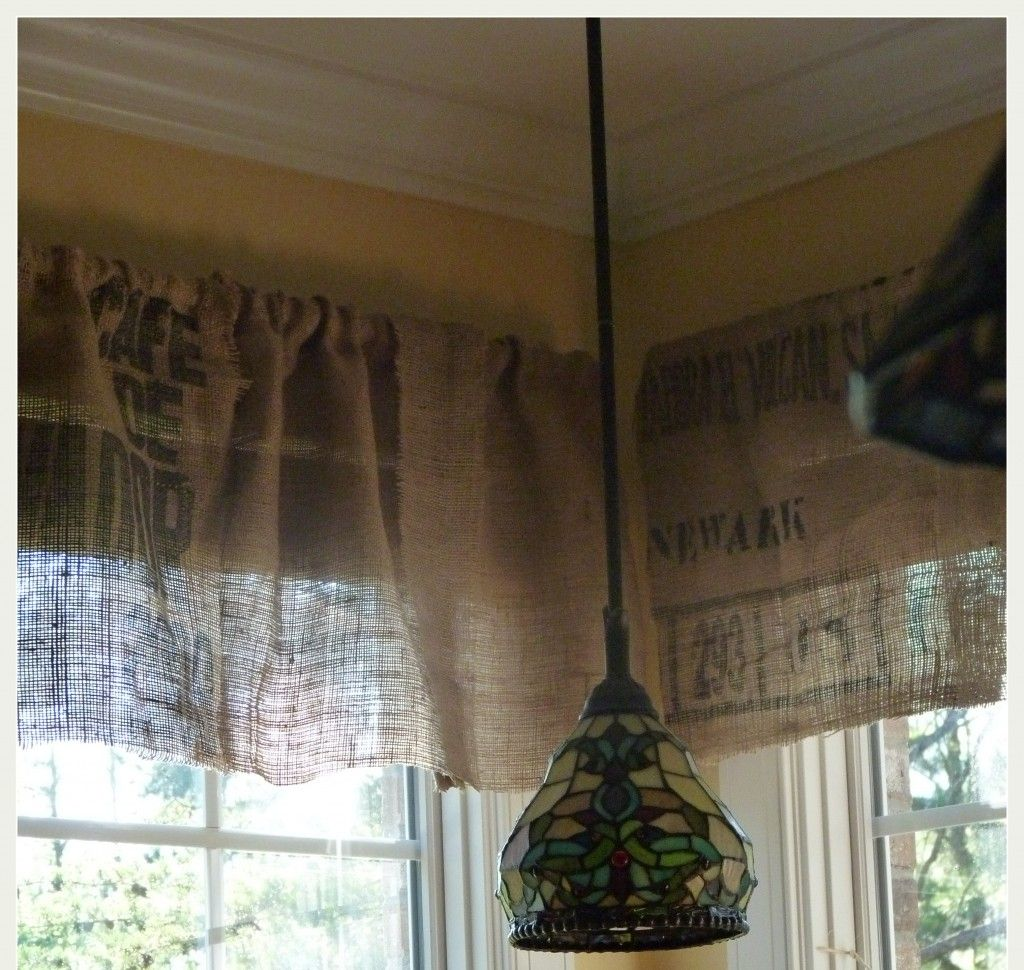 Diy No Sew Burlap Kitchen Valances Made From Coffee Bags