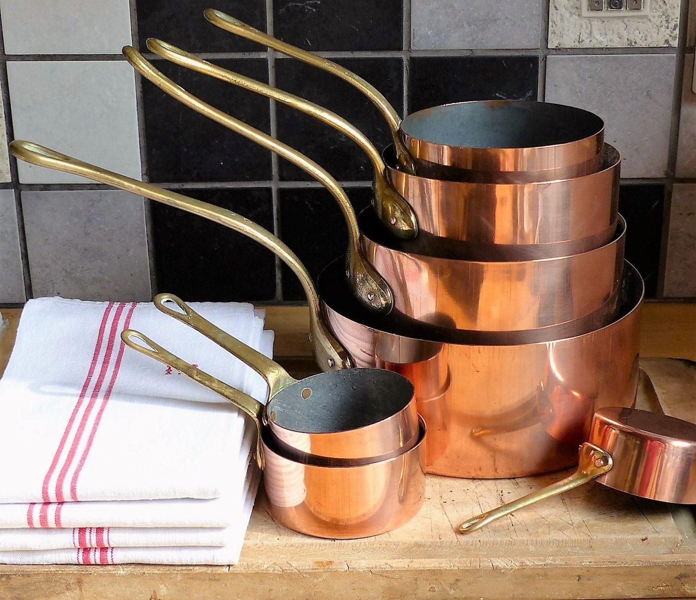 Vintage Copper Pans Copper Cooking Pans Kitchen Decorative Copper Pans Copper Cooking Pots Set Of 7 Bi Copper Kitchen Copper Cooking Pan Vintage Copper