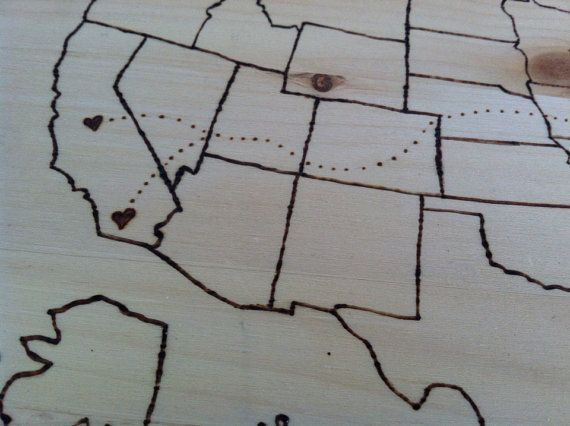 Customizable travel map wall hanging wood by projectpendant, $35.00