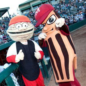 Wally the Walnut and Al the Almond, Modesto Nuts mascots; Class A-Advanced California League.