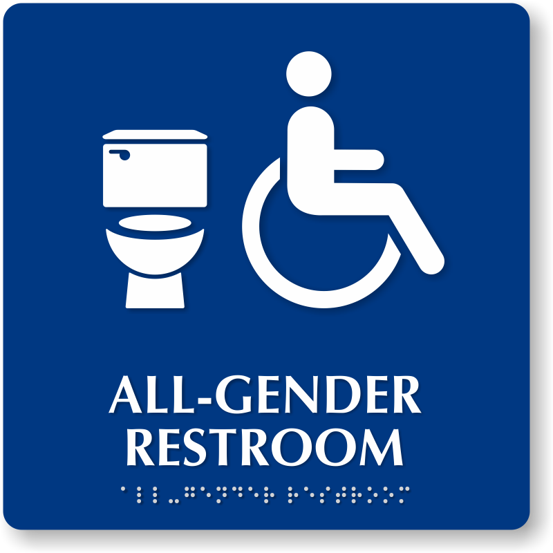 Elegant All Gender Restroom Braille Sign, Handicap And Toilet Symbol, SKU .