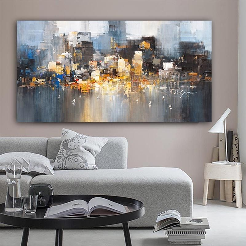 City Building Rain Boat Pictures Abstract Art Canvas Painting Modern Decoration Oil Painting Wall Pi Living Room Art Canvas Art Painting Oil Painting Abstract