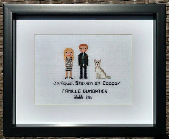 Price is for framed cross stitch portrait of two adults, one pet ...