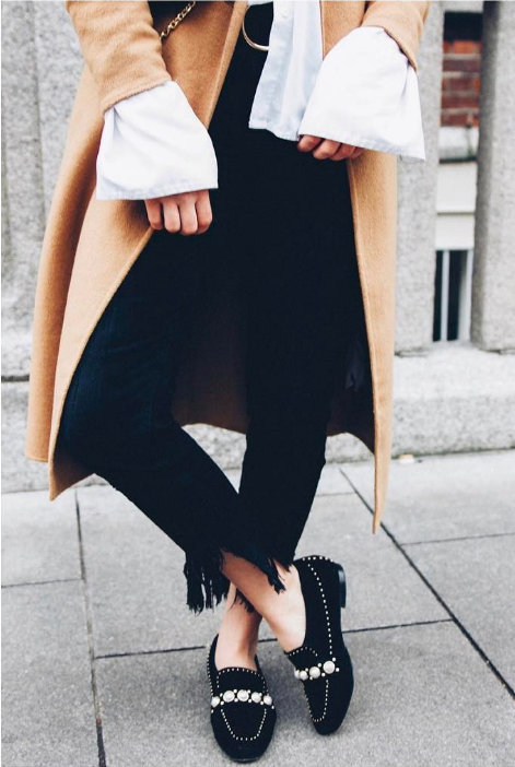 Fashion Blogger, Spot It On, wears black loafer with pearl details  'Leighton'
