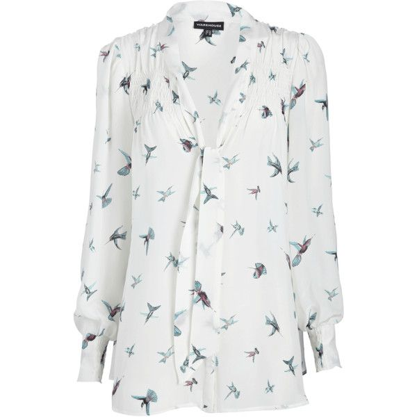 Swallow Print Blouse ($32) ❤ liked on Polyvore featuring tops, blouses,  shirts