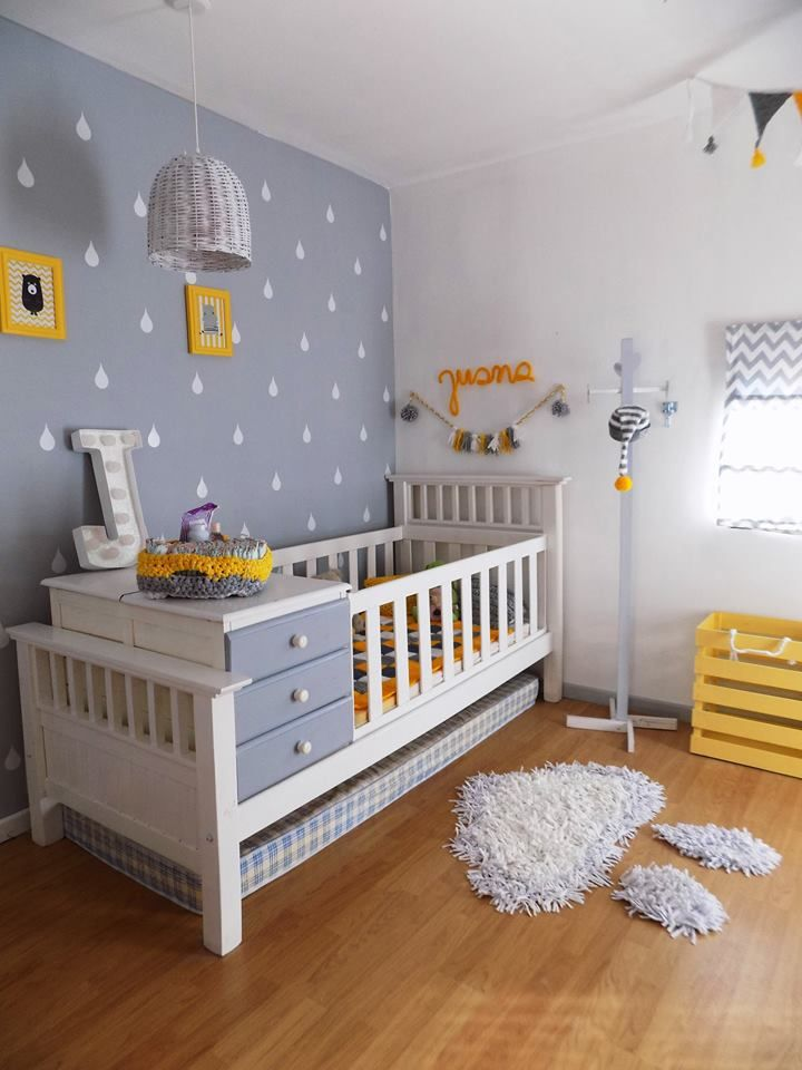 Habitacion bebe recien nacido gris amarillo y blanco