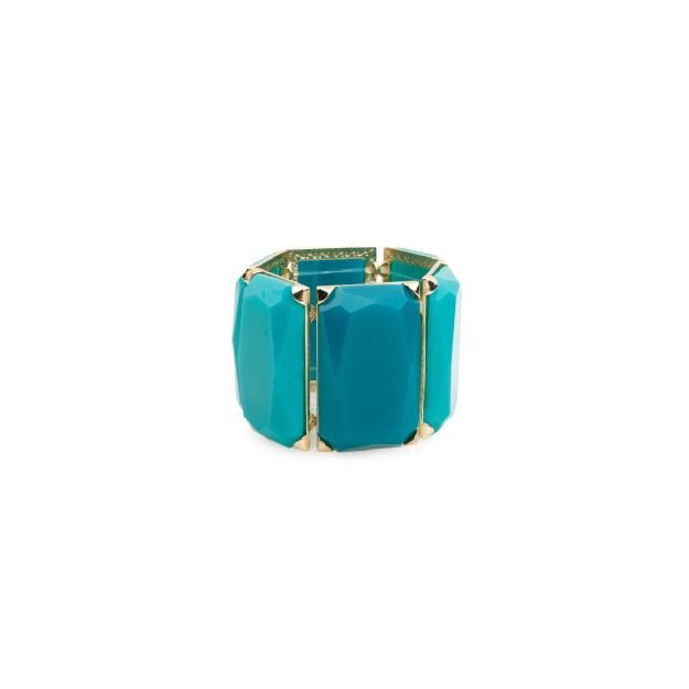 Wide Teal Stone Bracelet in Teal - Daily Look Mar 24, 2012