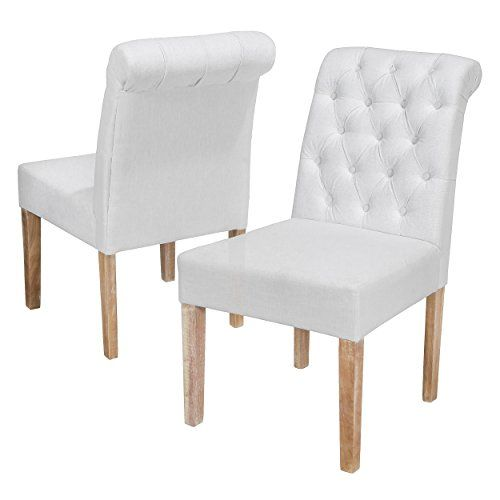Best Selling Darla Tufted White Fabric Dining Chair With Roll Top Set Of 2 You Can Find More Details By Visiting The Image Link It Is An