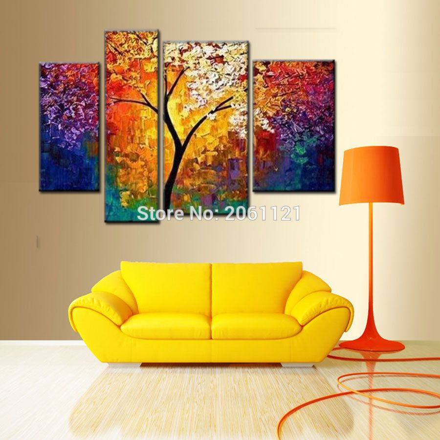 Handmade modern abstract art oil painting morning tree wall decor ...