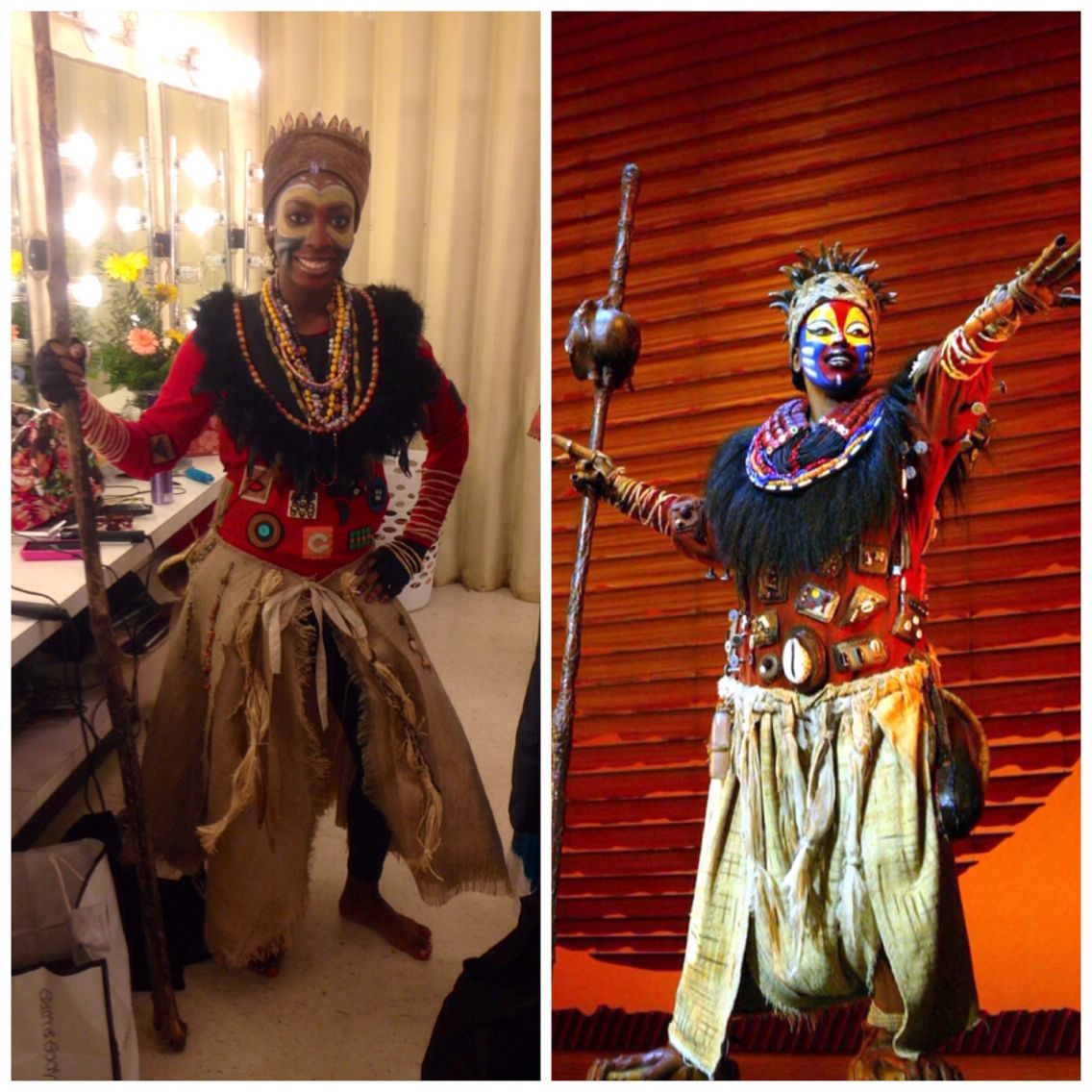 me in the lion king the musical handmade rafiki costume. Black Bedroom Furniture Sets. Home Design Ideas