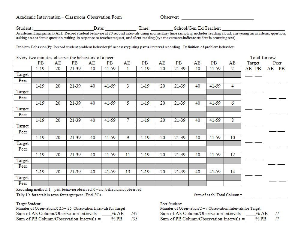 Systematic Observation Form Academic Intervention