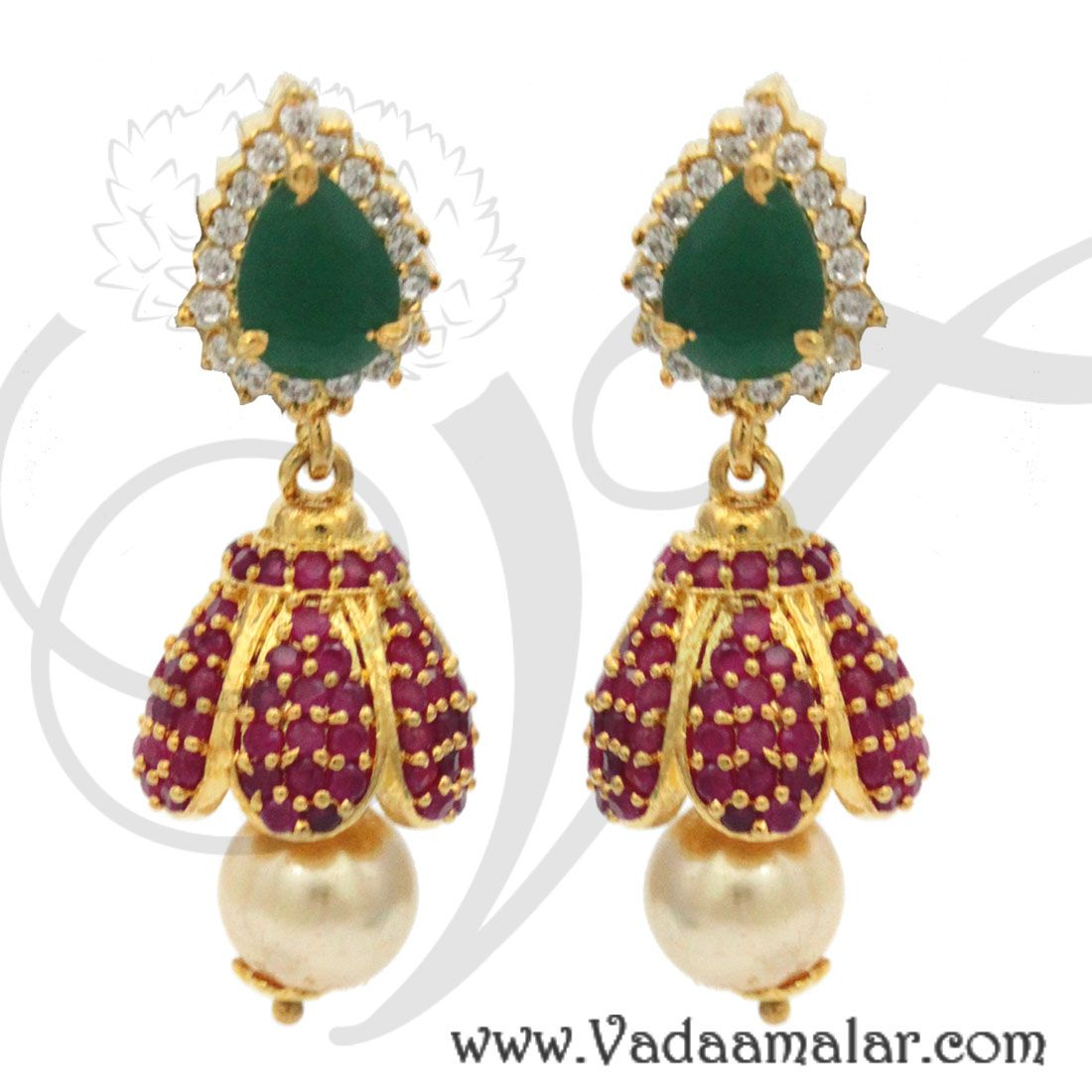 9a87dd77e Flower design white and ruby stone indian earring jhumka jhumki buy  tradtional pattern
