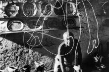So cool. Pablo Picasso painting with light