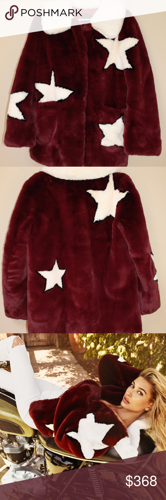 Guess Faux Fur Star Jacket Red Celebrity Coat Nyfw Red Jacket Clothes Design Coat [ 1740 x 580 Pixel ]