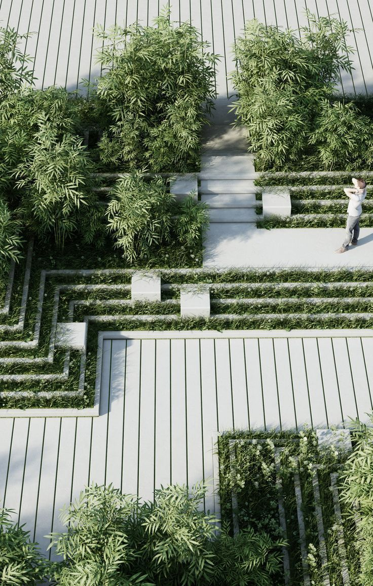 Contemporary Hard Landscaping || Magic Breeze Landscape Design By Penda  #LandscapingArchitecture #UrbanLandscape