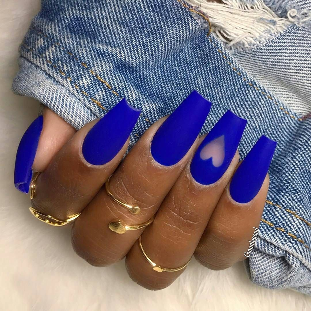 Blue Coffin Nails With Negative Space Blue Acrylic Nails Blue Coffin Nails Matte Acrylic Nails