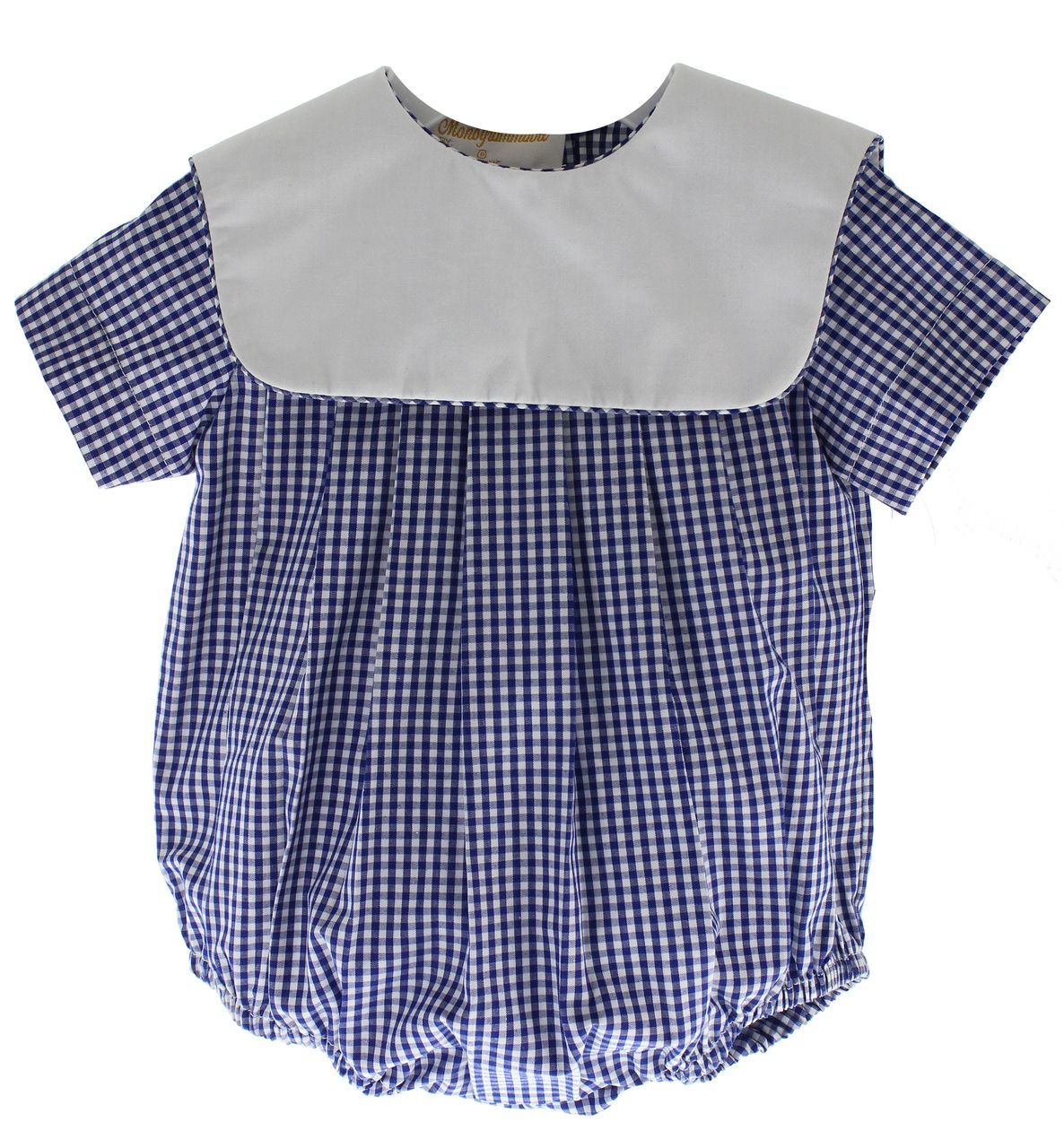 3fa1693887 Cute boys gingham bubble outfit with square bib collar that can be  monogrammed. Great personalized