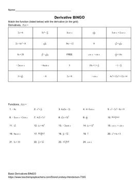 Derivatives Bingo With Images Quotient Rule Product Rule