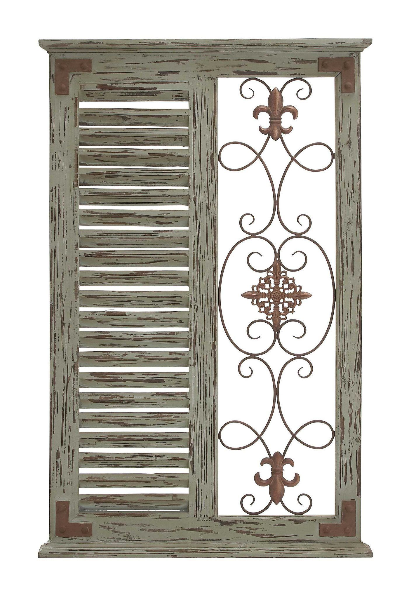 Classic pine wood metal wall panel with parallel slats of wood