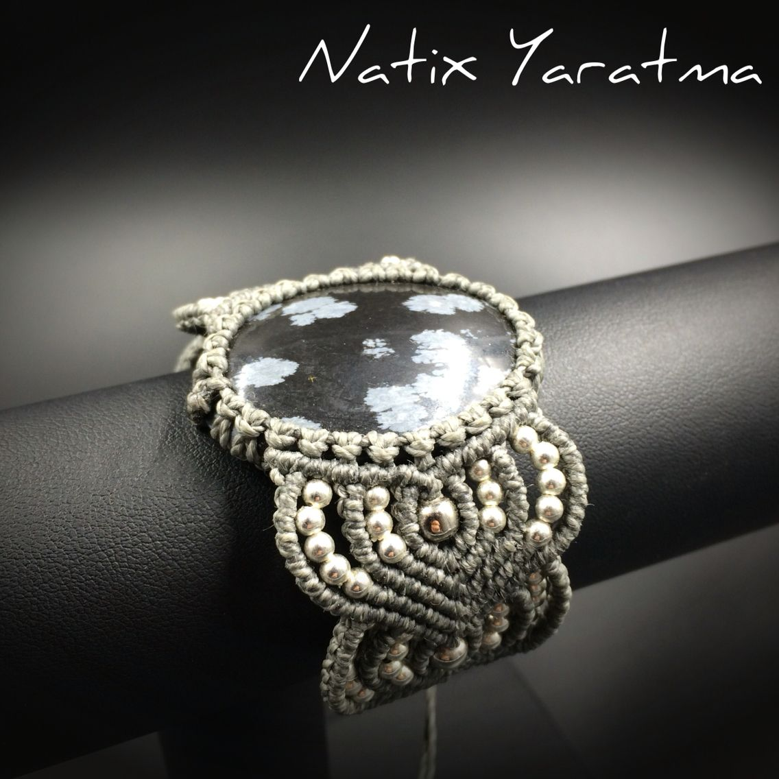 Macrame bracelet with black and white obsidian