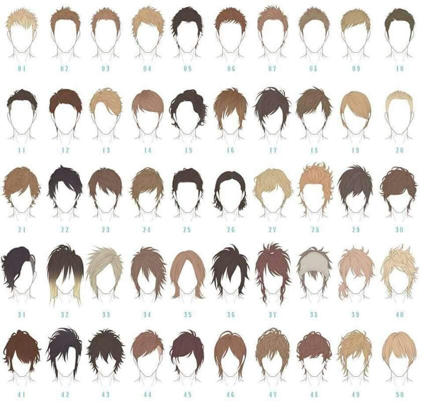 male hair reference anime