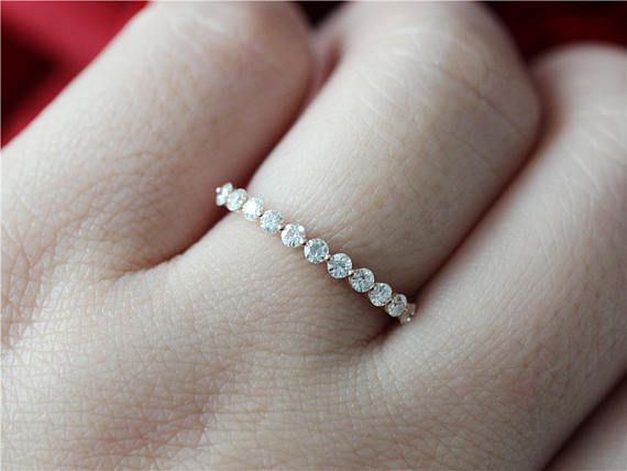 Unique Moissanite Band 14K Gold Moissanite Wedding Band Set