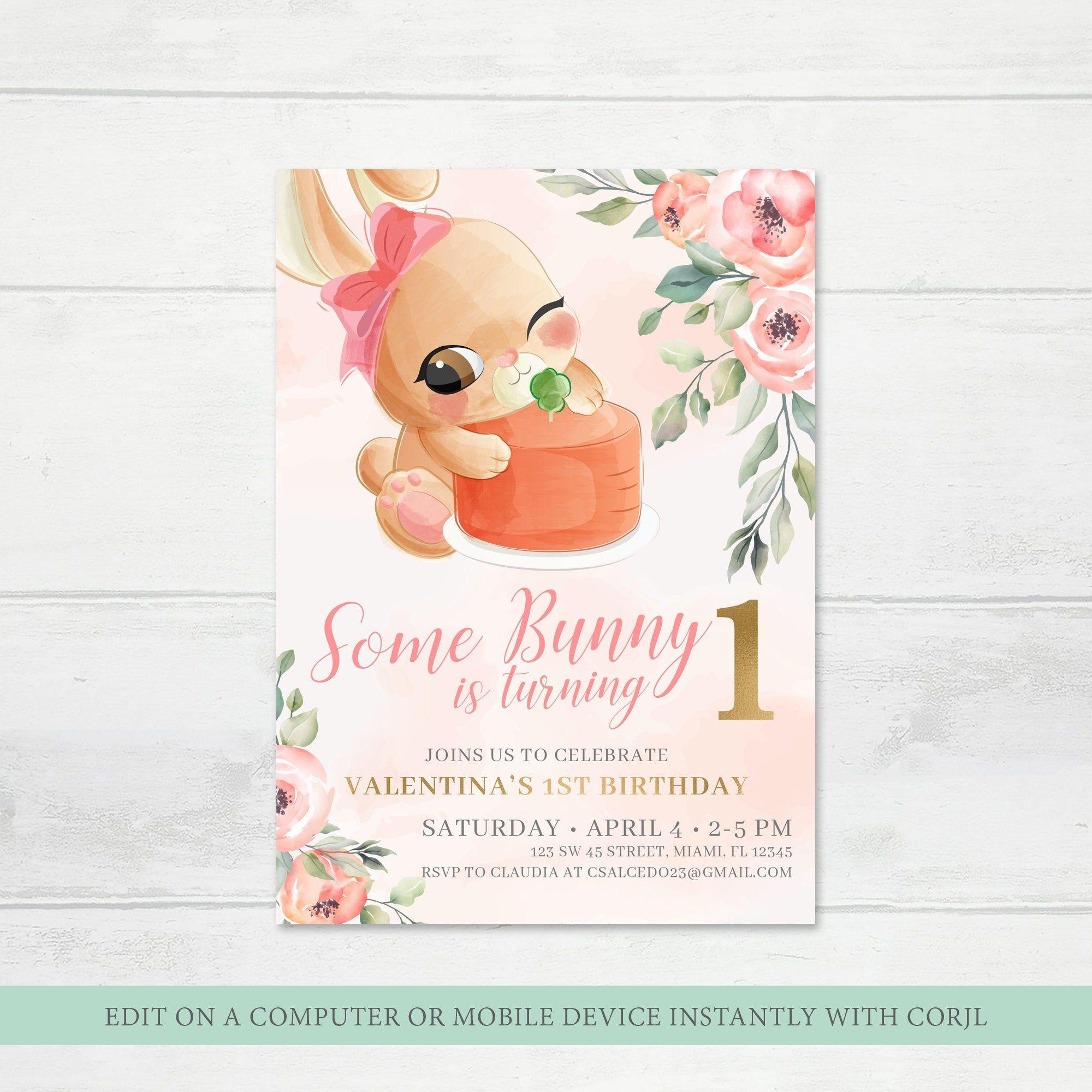 invitation bunny birthday invite